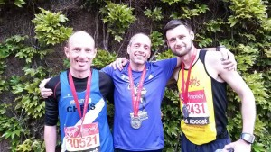 Chris Langham, Karl Scally and Matt Johnson after London Marathon