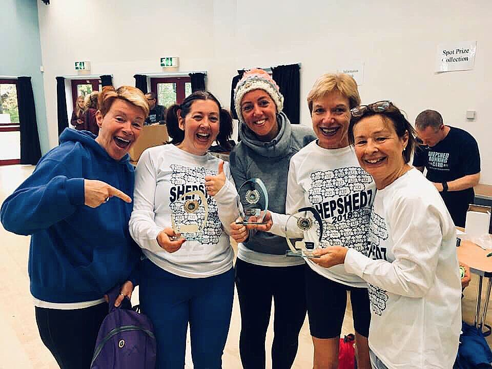 Hinckley men won the team award at 'Shepshed 7'. Unfortunately they had gone before the awards were given out, so the lovely ladies collected it for them on their behalf. #shepshed7 #hinckleyrunningclub #award #teamaward #winners #runners #run #running #runningclub